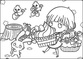 塗り絵②苺とスイーツ Fluffy